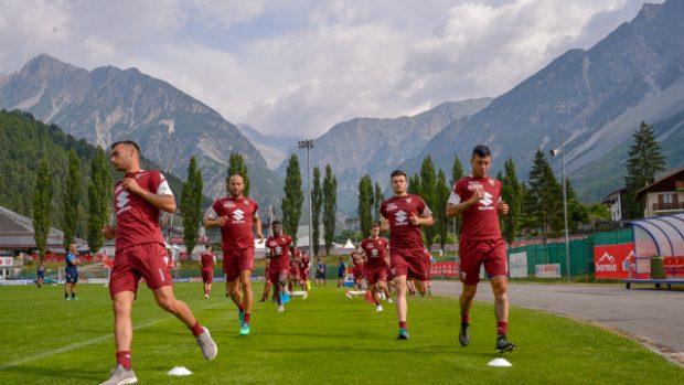 L'allenamento del Torino, in ritiro a Bormio (foto Marco Alpozzi, LaPresse)